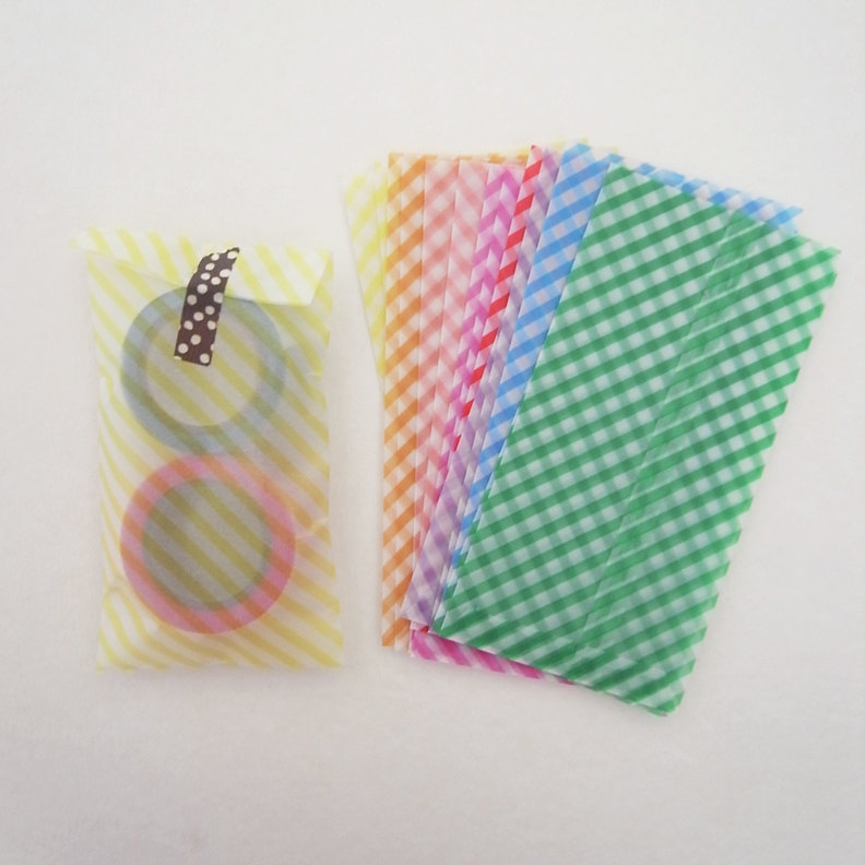 Set of 12 stripe pastel glassine envelopes bags - - 14cm X 7cm perfect for small card and coin