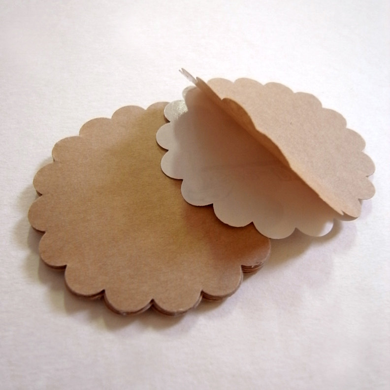 15 large circle scallop kraft label tag sticker diameter 3 inch scrapbooking or packing