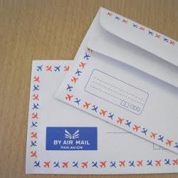 Set of 20 French stripe tri -colors airplane graphic trim self glue airmail envelopes 50grm.